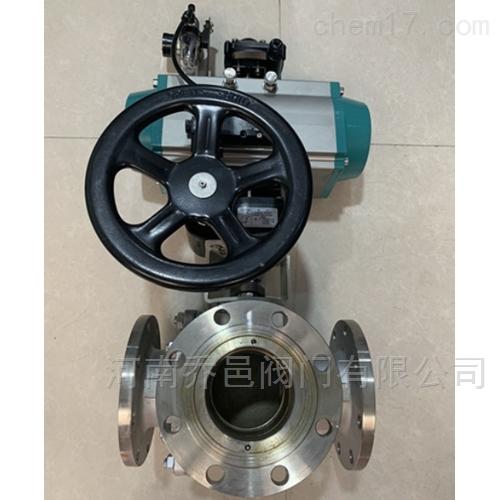 Q6S44F气动带手轮不锈钢三通球阀
