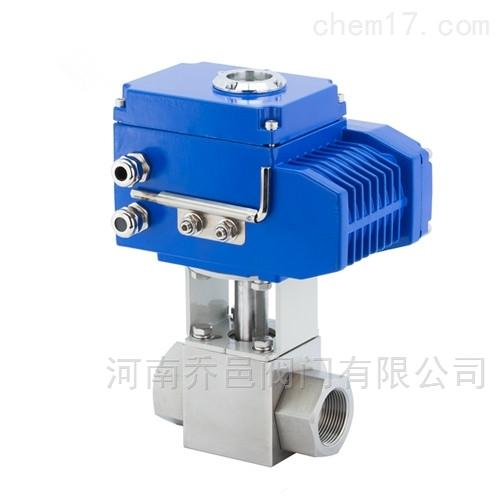 Q915F电动高压三通T型球阀 电动不锈钢三通球阀