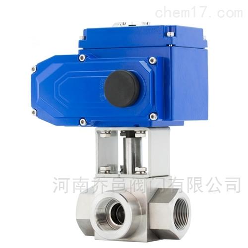 Q915F电动高压三通内螺纹球阀 电动高压丝口三通球阀