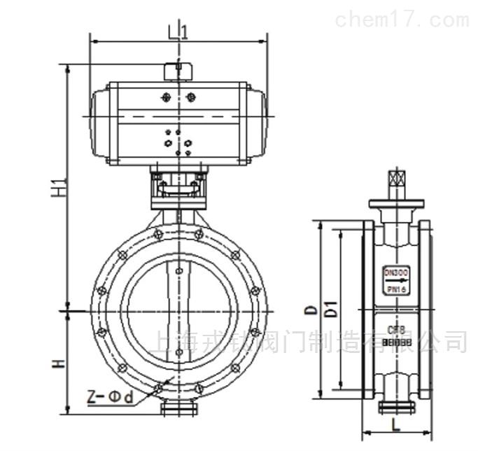 D671X气动橡胶密封对夹蝶阀结构图