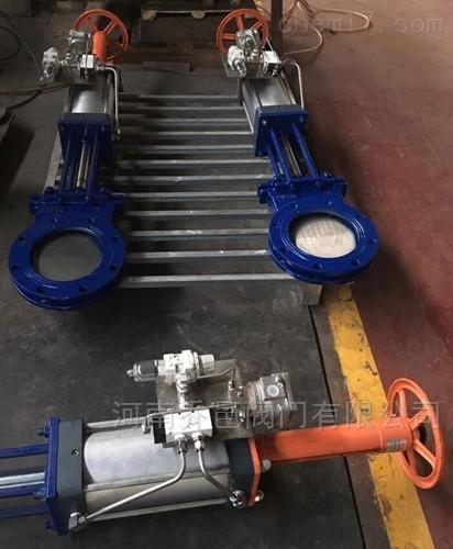气动带手动刀型插板阀 <strong>气动带手动刀闸阀</strong>PZ6S73H气动带手动刀型闸阀